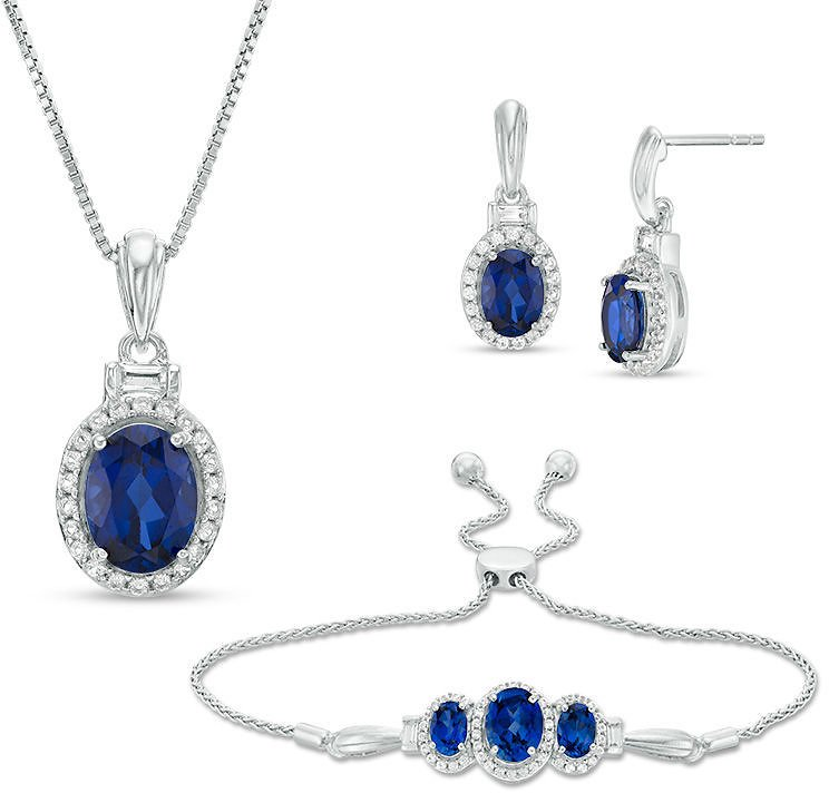 Oval Lab-Created Ceylon and White Sapphire Frame Pendant, Bolo Bracelet and Drop Earrings Set in Sterling Silver - 9.5