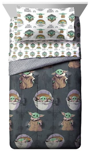 Star Wars Baby Yoda 'The Child' 5 Piece Twin Bed Set with Bonus Tote