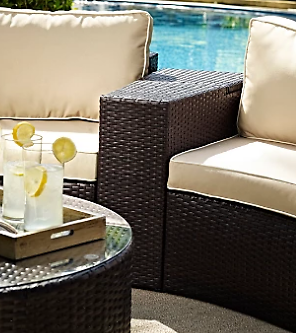 Catalina Outdoor Wicker Arm Table | Ashley Furniture HomeStore