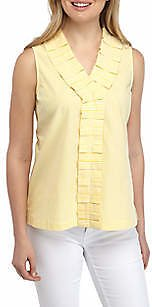 Crown & Ivy™ Sleeveless Pleated Front Top