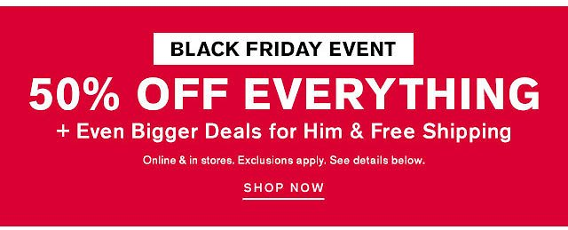 Black Friday Event Sale! 50% Off Everything