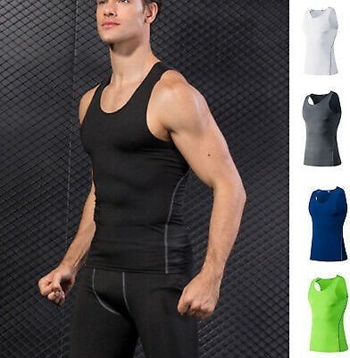 Mens Compression Athletic Gym Tank Top Sleeveless Basketball Running Sports Vest