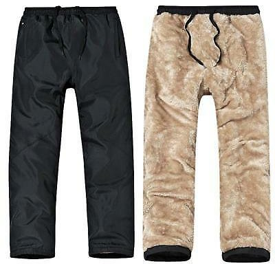 Mens Winter Casual Fleece Lined Pants Thick Warm Loose Long Outdoor Trousers New