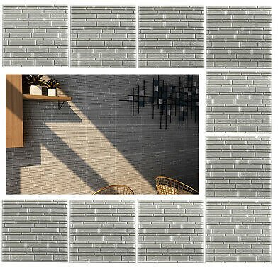 10x Faux Foam Bricks 3D Wall Panel Tile Peel and Stick Wallpaper for Home Decor