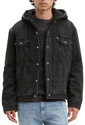 Levis Mens Denim Sherpa Lined Hooded Jean Jacket Fall Pocket Drawstring 85244