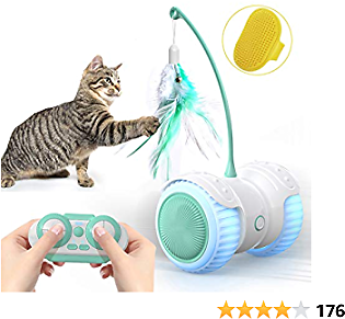 14 in 1 Smart Robotic Interactive Cat Toy, Auto/RC 2 Mode, Kitten Approved Toy Hours Fun for Kitty and Human