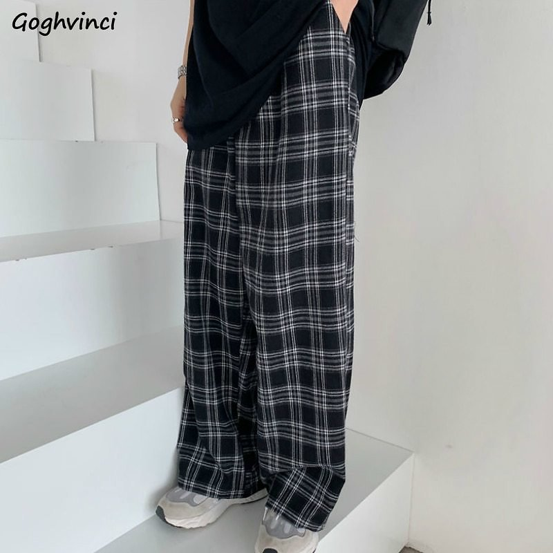 US $7.98 5% OFF|Plaid Pants Women Casual Chic Oversize 3XL Loose Wide Leg Trousers Ins Retro Teens Harajuku Hip Hop All Match Unisex Streetwear|Pants & Capris| - AliExpress