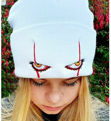 Mens Women Pennywise Scary Eyes Knitted Hat Winter Warm Beanie Ski Cap Free Ship