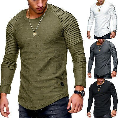 Men's Slim Fit O Neck Pullover Long Sleeve Muscle Tee T-shirt Fall Tops Blouse