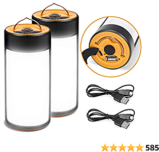 LED Camping Lantern, CT CAPETRONIX Rechargeable Camping Lights with 400LM 5 Light Modes Water-resistant, 2 Pack Portable Tent Lights for Camping Power Outage Fishing Hiking Emergency Hurricane Home