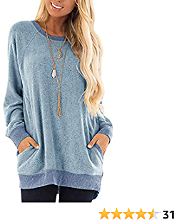 Womens Color Block Long Sleeve Shirt Round Neck Pocket Pullover Casual Tunic Sweatshirts Tops