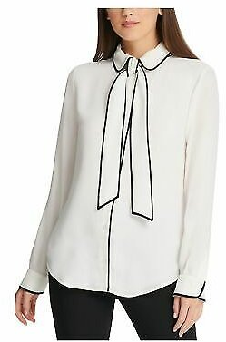 DKNY Womens White Long Sleeve Blouse Evening Top Petites Size: PXL