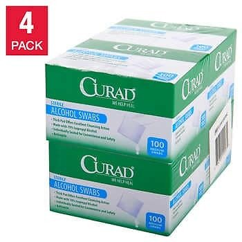 4 Boxes Curad Alcohol Prep Pads, 100-count