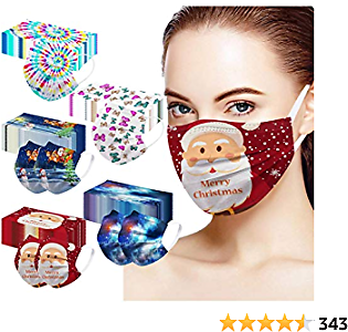 Koippimel 50Pcs, Christmas Adult Disposable_Face_Mask, Butterfly Tie Dye Plaid Printed Breathable Face_Masks with Elastic String for Dust Protection