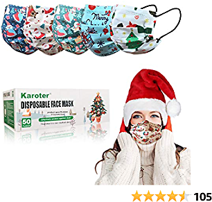Face Mask Disposable Face Masks 3 Layer Filter Christmas Face Masks For Adults (Adults Face Mask)