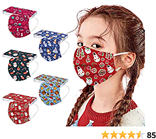 Christmas Face_Mask for Kids,Children's 50PCS Childrens Face_Masks Disposable Cute Print Mouth Cover Outdoor Indoor Face Bandanas for Boys Girls