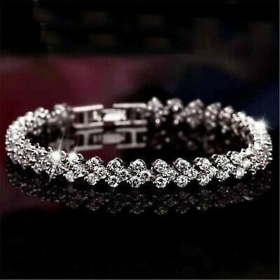Charm Women Crystal Zircon Bracelet Bangle Wedding Bridal Wristband Jewelry Gift