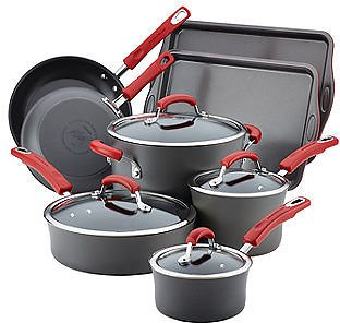 12-pc.Aluminum Non-Stick Cookware Set By Rachael Ray