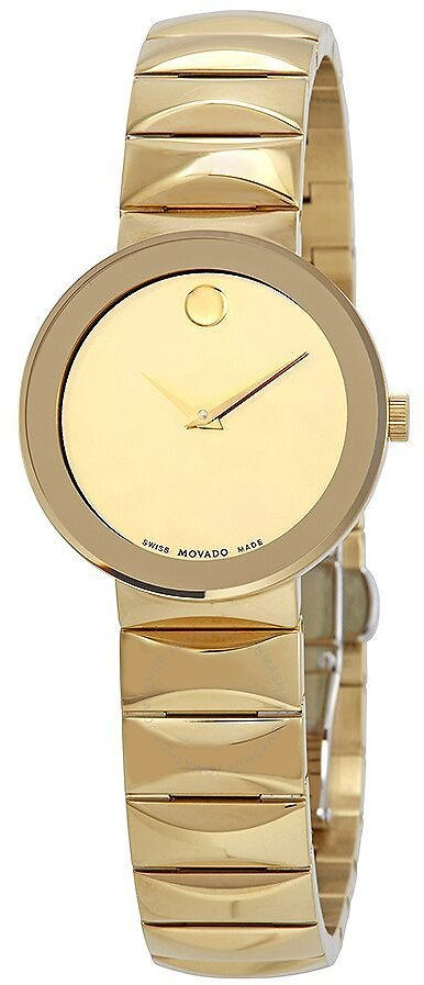 Movado Sapphire Yellow Gold-plated Mirror Dial Ladies Watch 0607214