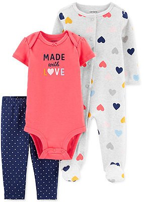 Carter's Baby Girls 3-Pc. Cotton Made With Love Coveralls, Bodysuit & Footie Pants Set & Reviews - Sets & Outfits - Kids