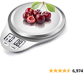 Digital Kitchen Scale with Wide Stainless Steel Plateform High Accuracy Multifunction Food Scale with LCD Display for Baking Kitchen Cooking,Tare & Auto Off Function (Snow White)
