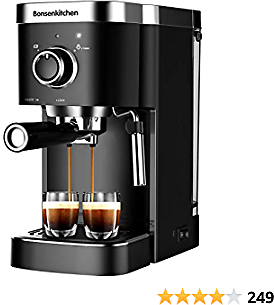Espresso Machine 20 Bar Coffee Machine With Foaming Milk Frother Wand, 1450W High Performance No-Leaking 1.25 Liters Removable Water Tank Coffee Maker For Espresso, Cappuccino, Latte, Machiato, For Home Barista