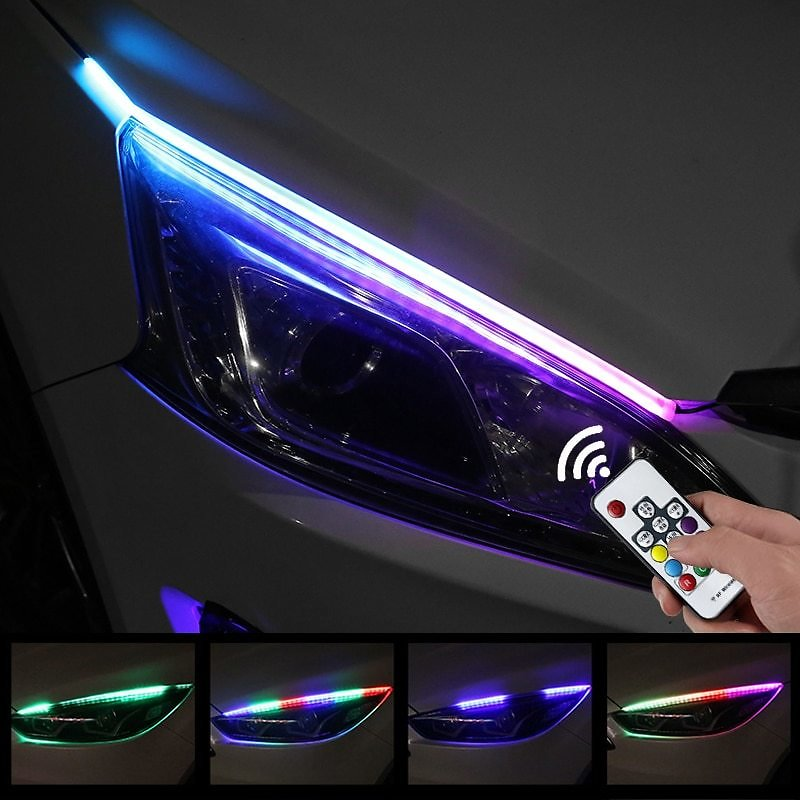 US $9.74 38% OFF|2X Sequential Flowing RGB Daytime Running Light DRL Multi Color LED Strip Turn Signal Lights For Headlight|Car Light Assembly| - AliExpress
