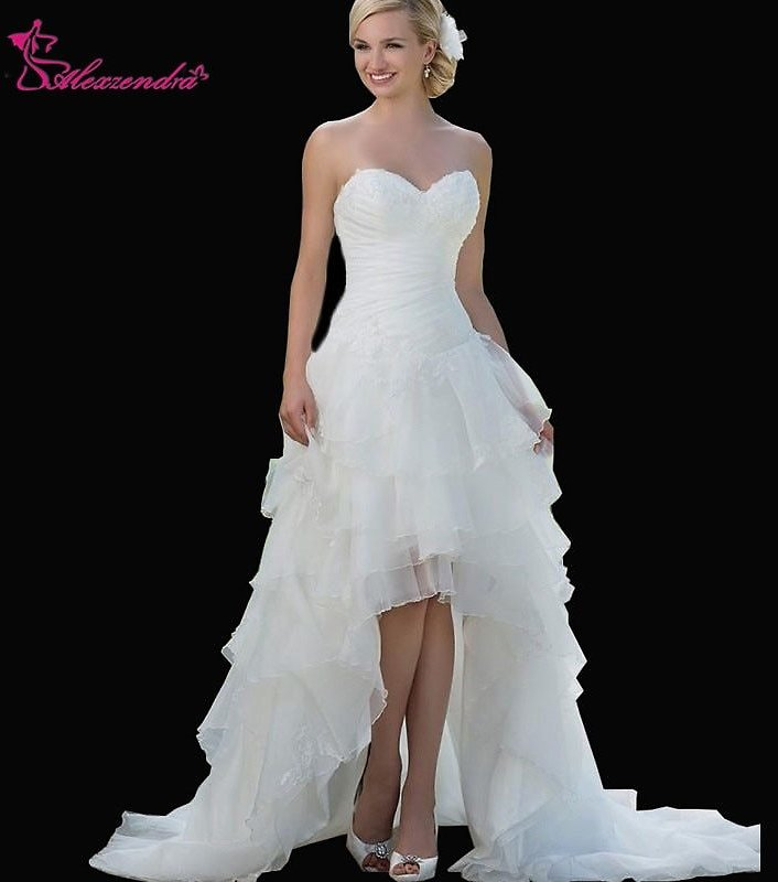US $90.42 34% OFF|Alexzendra A Line Sweetheart High Low Wedding Dresses Organza Appliques Short Front Long Back Bridal Gowns Customize|Wedding Dresses| - AliExpress