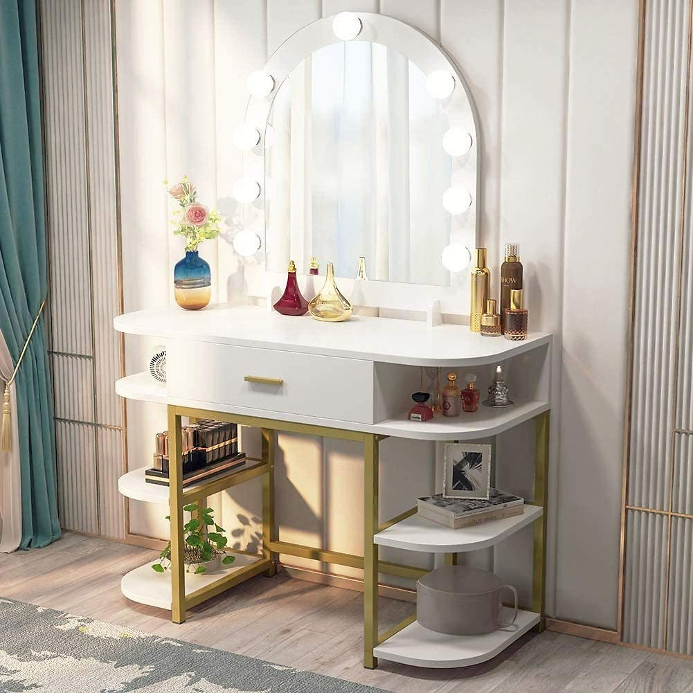Tribesigns Large Vanity Table with Lighted Mirror and Drawer, Bedroom Makeup Table with 9 Lights and 6 Storage Shelves, Dressing