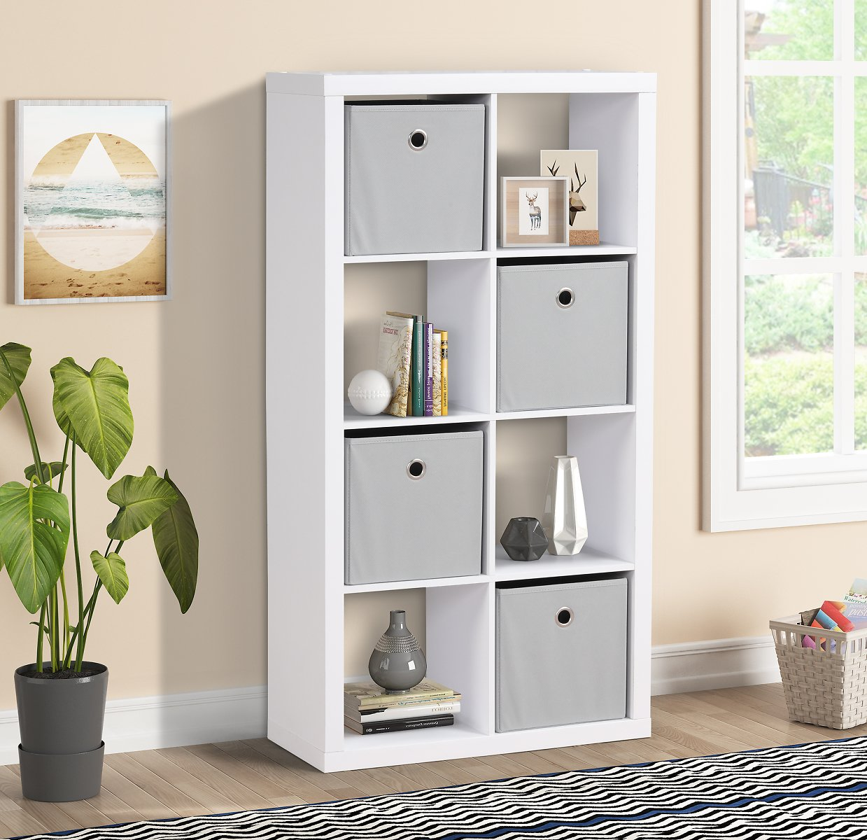 White 8 Cube Organizer With 4 Pack Gray Fabric Bins
