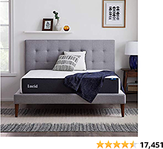 LUCID LU10QQFR30GF 10 Inch Memory Foam Firm Feel – Gel Infusion – Hypoallergenic Bamboo Charcoal – Breathable Cover Bed Mattress Conventional (Queen), White