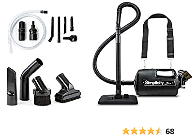 Simplicity S100 Canister and Car Vacuum Cleaner, Handheld, Charcoal Filter, Crevice Tool and More