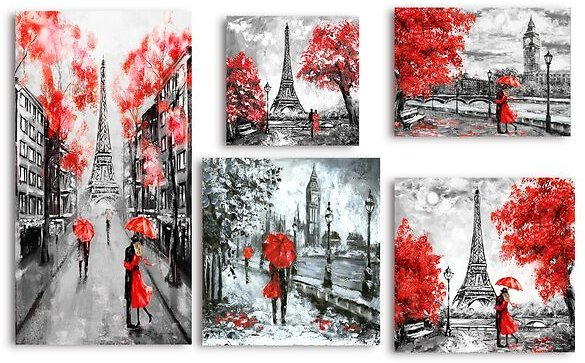 SALE 46% OFF ON Paris London Collection' Traditional 5 Piece Gallery Wall Set On Canvas in Red