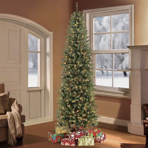 SALE 31% OFF ON Fraser Pencil Green Fir Christmas Tree with Clear/White Lights
