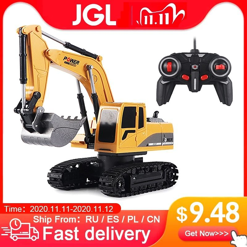 RC Excavator Toy 2.4Ghz 6 Channel 1:24 RC Engineering Car Alloy And Plastic Excavator 6CH And 5CH RTR For Kids Christmas Gift