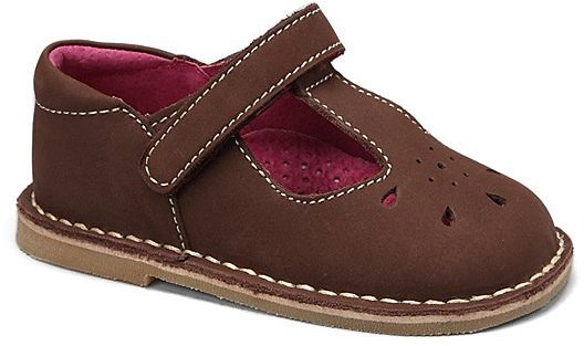 Brown Leather T-Strap Shoe - Girls