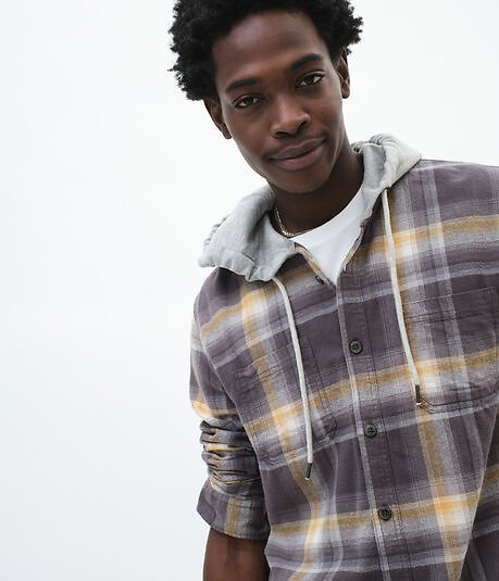 Long Sleeve Plaid Hooded Flannel Button-Down Shirt - Gray