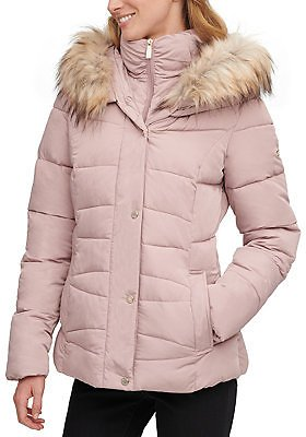 Calvin Klein Faux-Fur-Trim Hooded Puffer Coat, Created for Macy's & Reviews - Coats - Pink - Women