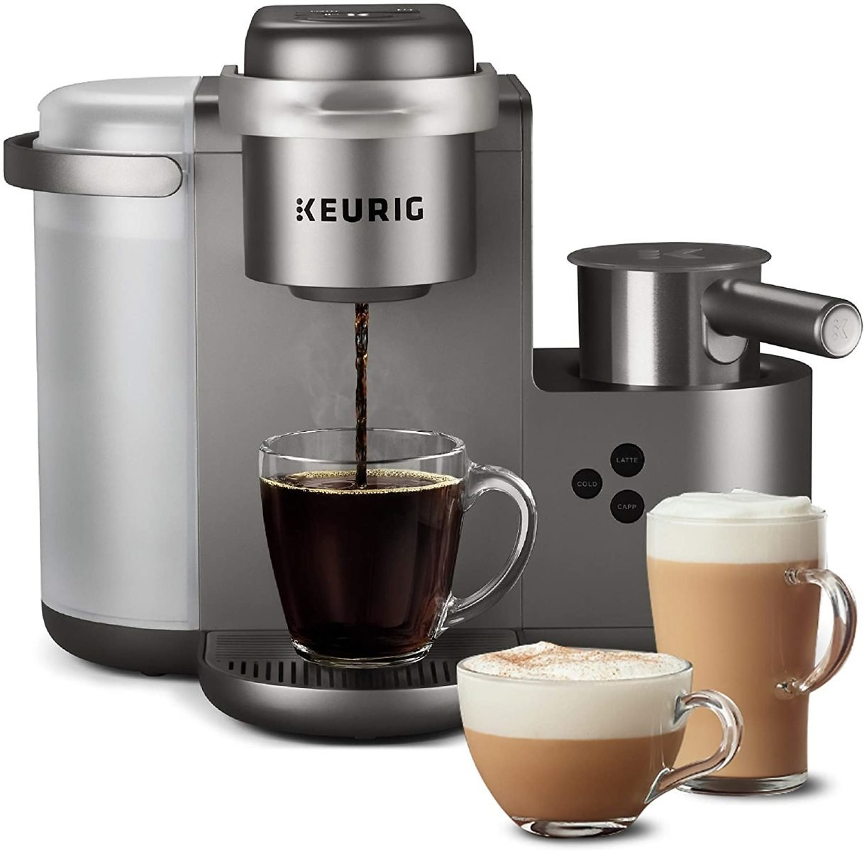 Keurig K-Cafe Special Edition Single Serve K-Cup Pod Coffee, Latte and Cappuccino Maker, Comes with Dishwasher Safe Milk Frother, Shot Capability, Nickel
