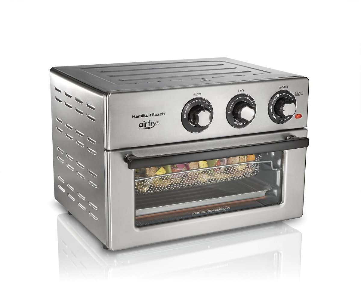 Hamilton Beach Air Fry Countertop Oven, 6 Cooking Functions, Classic Silver Finish