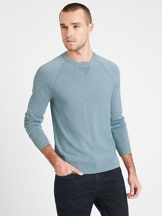Organic Cotton Raglan Sweater - Blue