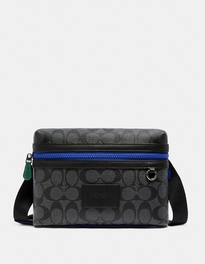 Small Carrier Crossbody in Colorblock Signature Canvas