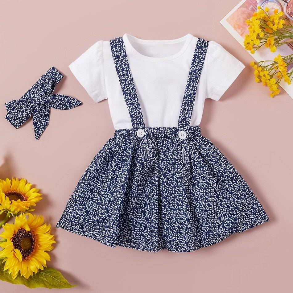 3-piece Baby / Toddler Solid Top, Floral Suspender Skirt and Headband Set