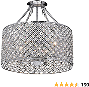 Marya 4-Light Chrome Round Shade Crystal Semi Flush Mount Chandelier Ceiling Fixture, Beaded Drum Shade