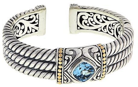 Bali Designs Sterling Silver and 18K Gemstone Cable Cuff - 9268284 | HSN