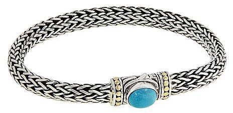 Bali Designs Sterling Silver and 18K Turquoise Woven Chain Bracelet - 9163171 | HSN
