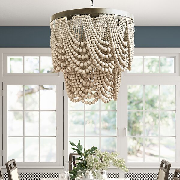 Hatfield 3 - Light Unique Tiered Chandelier with Beaded Accent