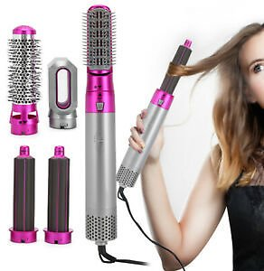 5In1 Powerful Hair Dryer Volumizer Brush Hot Air Comb Straightener Curling Iron