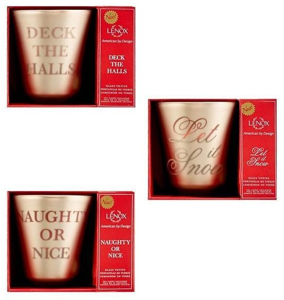 Lenox Deck The Halls, Naughty or Nice, and Let It Snow Votives - 3 Pack