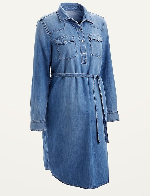 Maternity Western Jean Tie-Belt Shirt Dress